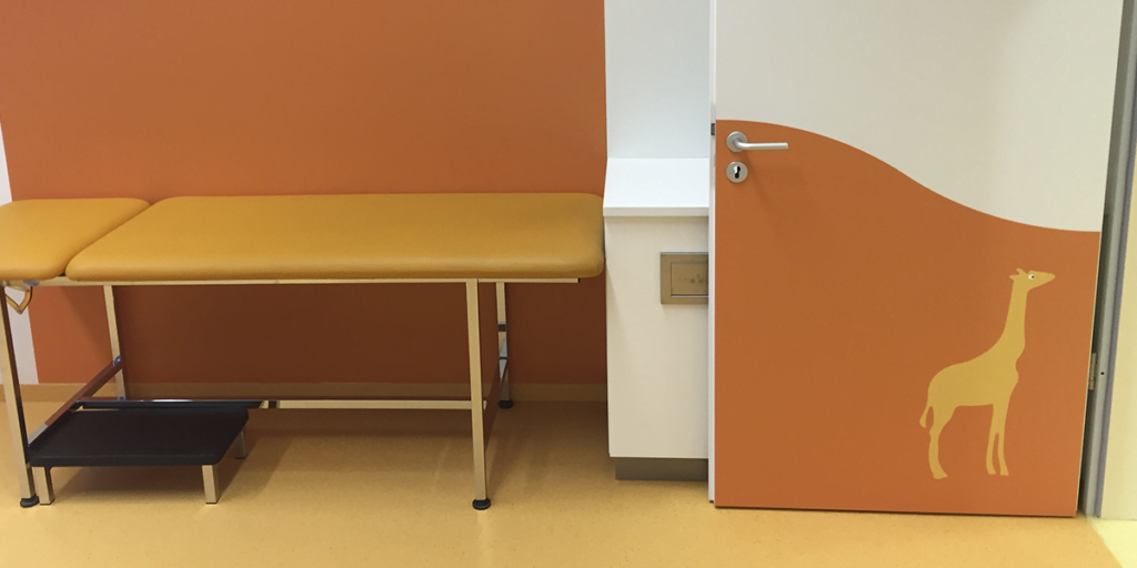 orange colour door and wall protection panel